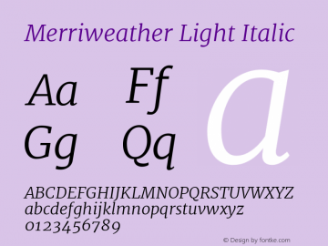 Merriweather Light Italic Version 1.001 Font Sample