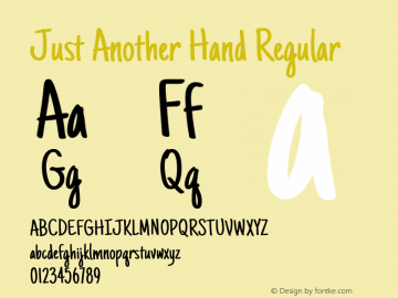 Just Another Hand Regular Version 1.000 Font Sample