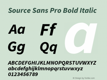 Source Sans Pro Bold Italic Version 1.038;PS Version 1.000;hotconv 1.0.70;makeotf.lib2.5.5900 Font Sample