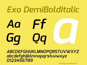 Exo DemiBoldItalic Version 1 Font Sample