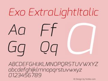 Exo ExtraLightItalic Version 1.00 Font Sample
