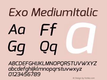 Exo MediumItalic Version 1.00 Font Sample