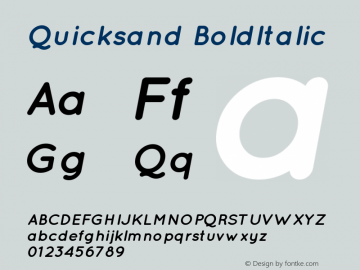 Quicksand BoldItalic Version 001.001 Font Sample