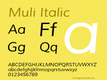 Muli Italic Version 1.000 Font Sample