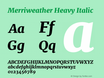 Merriweather Heavy Italic Version 1.001 Font Sample