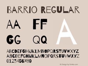 Barrio Regular Version 1.004;PS 001.004;hotconv 1.0.70;makeotf.lib2.5.58329 Font Sample