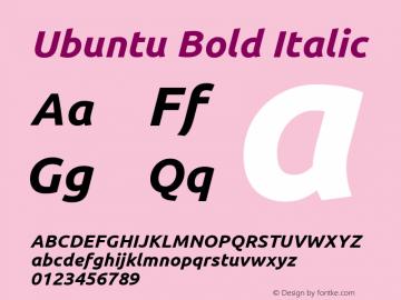 Ubuntu Bold Italic Version 0.69 Font Sample