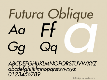 Futura Oblique Version 001.002 Font Sample