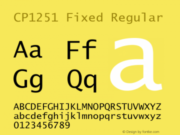 CP1251 Fixed Regular Unknown Font Sample