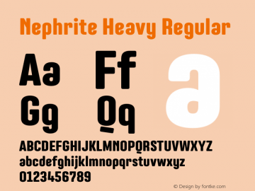 Nephrite Heavy Regular Version 1.000 Font Sample