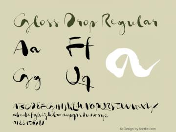 Gloss Drop Regular Version 1.019;PS 001.019;hotconv 1.0.70;makeotf.lib2.5.58329 Font Sample