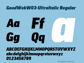 GoodWebW03-UltraItalic Regular Version 7.504图片样张