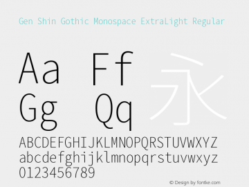 Gen Shin Gothic Monospace ExtraLight Font,Gen Shin Gothic