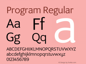 Program Regular Version 1.0 Font Sample