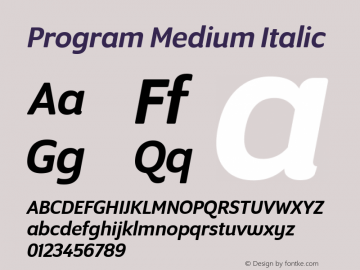 Program Medium Italic Version 1.0 Font Sample
