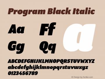 Program Black Italic Version 1.0 Font Sample
