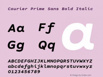 Courier Prime Sans Bold Italic Version 3.020 Font Sample