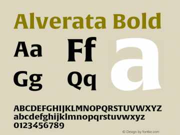 Alverata Bold Version 1.001 Font Sample