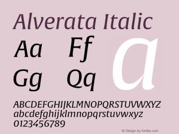 Alverata Italic Version 1.001 Font Sample