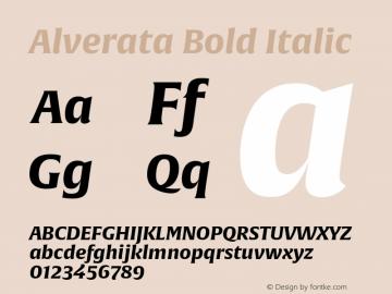 Alverata Bold Italic Version 1.001 Font Sample