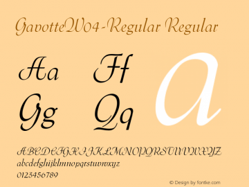 GavotteW04-Regular Regular Version 1.00 Font Sample