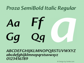 Proza SemiBold Italic Regular Version 1.000 Font Sample
