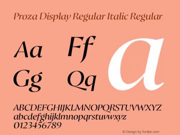 Proza Display Regular Italic Regular Version 2.203 Font Sample