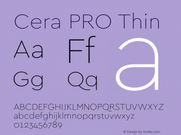 Cera PRO Thin Version 1.001 Font Sample