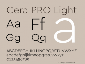 Cera PRO Light Version 1.001 Font Sample