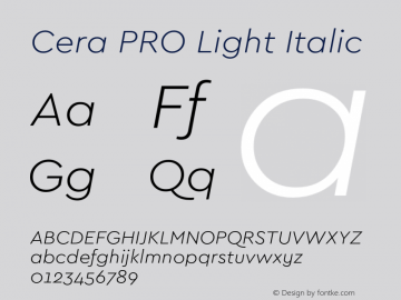 Cera PRO Light Italic Version 1.001 Font Sample