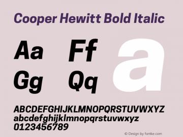 Cooper Hewitt Bold Italic 1.000 Font Sample