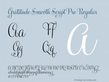 Gratitude Smooth Script Pro Regular Version 1.000 Font Sample