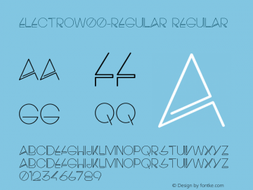 ElectroW00-Regular Regular Version 1.00 Font Sample