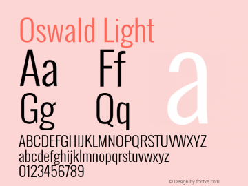 Oswald Light Version ; ttfautohint (v0.92.18-e454-dirty) -l 8 -r 50 -G 200 -x 0 -w