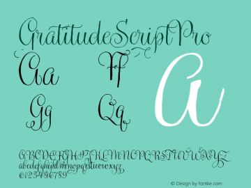 GratitudeScriptPro ☞ Version 1.000; ttfautohint (v0.95) -d;com.myfonts.easy.sudtipos.gratitude-script.regular.wfkit2.version.4oCK图片样张