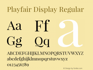 Playfair Display Regular Version 1.005; ttfautohint (v1.2) -l 10 -r 42 -G 200 -x 21 -D latn -f latn -w G -X
