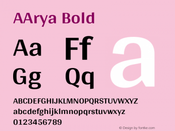 AArya Bold Version 1.000;PS 001.000;hotconv 1.0.70;makeotf.lib2.5.58329图片样张