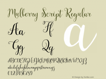 Mulberry Script Regular Version 1.000 Font Sample