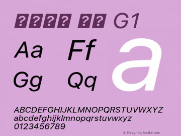 系统字体 斜体 G1 11.0d45e1--BETA Font Sample