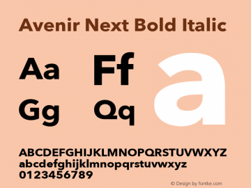 Avenir Next Bold Italic 8.0d5e6 Font Sample