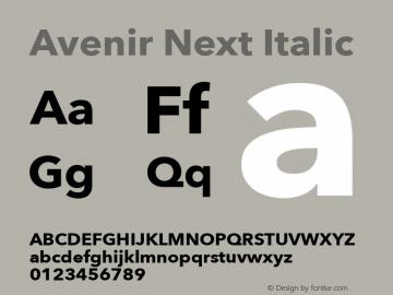 Avenir Next Italic 8.0d5e6 Font Sample