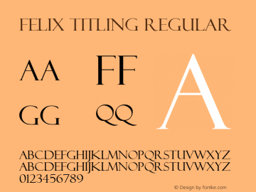 Felix Titling Regular Version 1.50 Font Sample