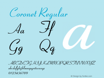 Coronet Regular Version 1.05 Font Sample