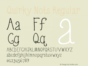 Quirky Nots Regular 001.000 Font Sample