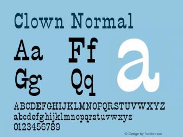 Clown Normal Altsys Fontographer 4.1 5/24/96 Font Sample