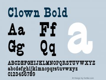 Clown Bold Altsys Fontographer 4.1 5/24/96 Font Sample