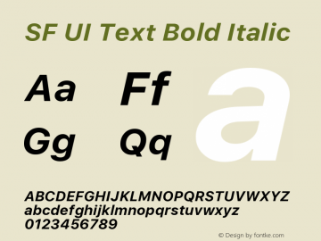 SF UI Text Bold Italic 11.0d45e1--BETA Font Sample