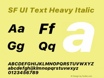 SF UI Text Heavy Italic 11.0d45e1--BETA Font Sample