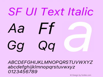 SF UI Text Italic 11.0d45e1--BETA Font Sample