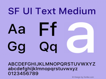 SF UI Text Medium 11.0d45e1--BETA Font Sample